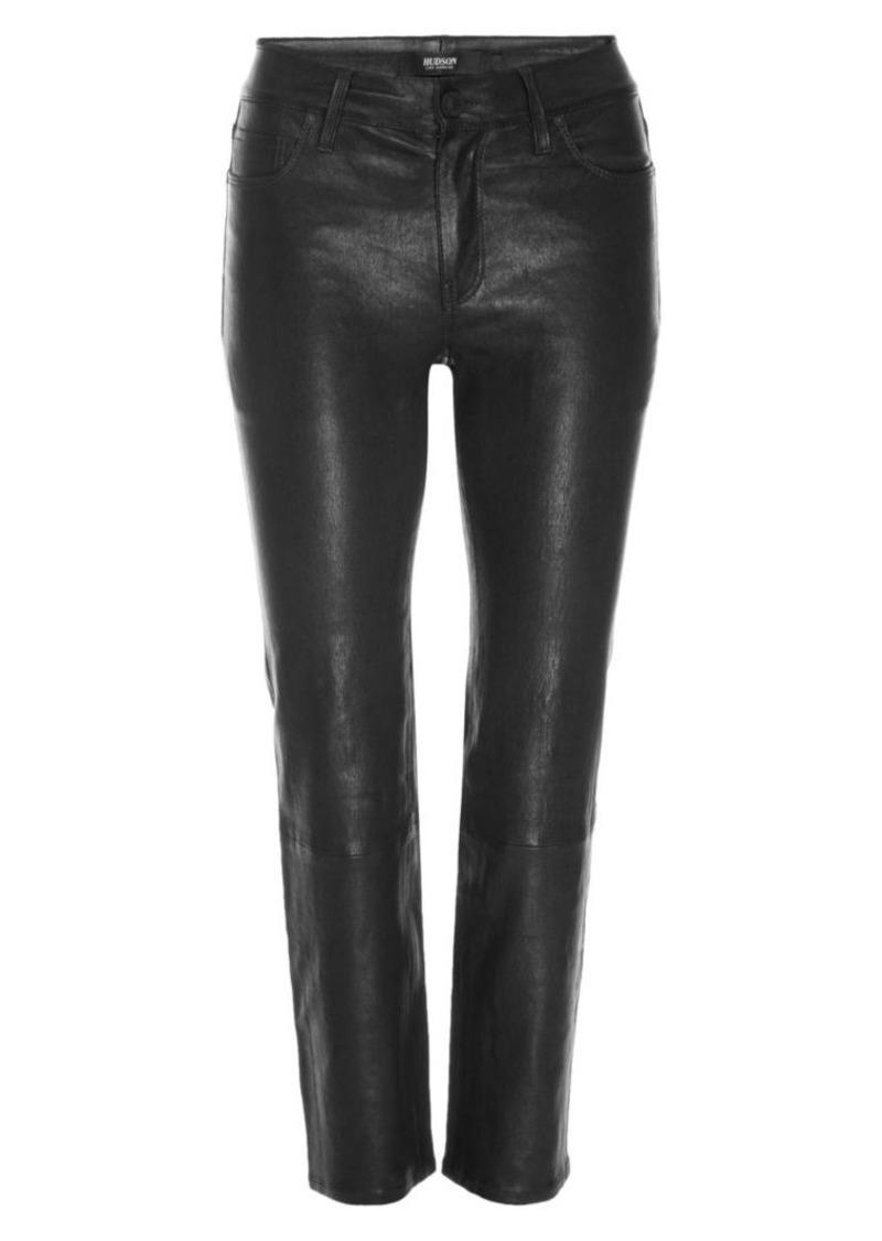 Hudson Jeans Nico Mid-Rise Cigarette Leather Pants