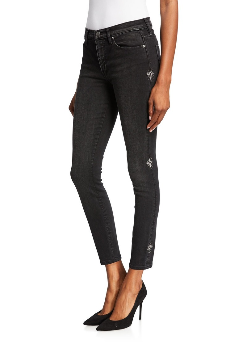 Hudson Jeans Nico Super Skinny Faded Embellished Jeans