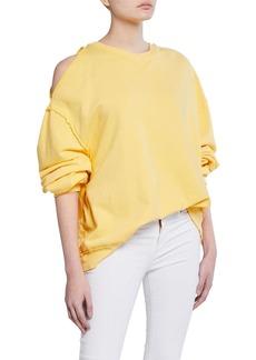 Hudson Jeans Open-Shoulder Oversized Sweatshirt