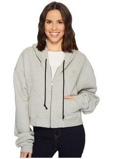 Hudson Jeans Oversized Zip Crop Hoodie in Heather Grey