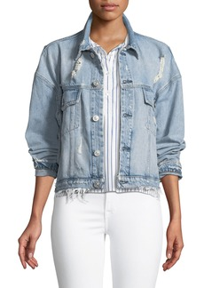 Hudson Jeans Rei Distressed Cropped Denim Jacket