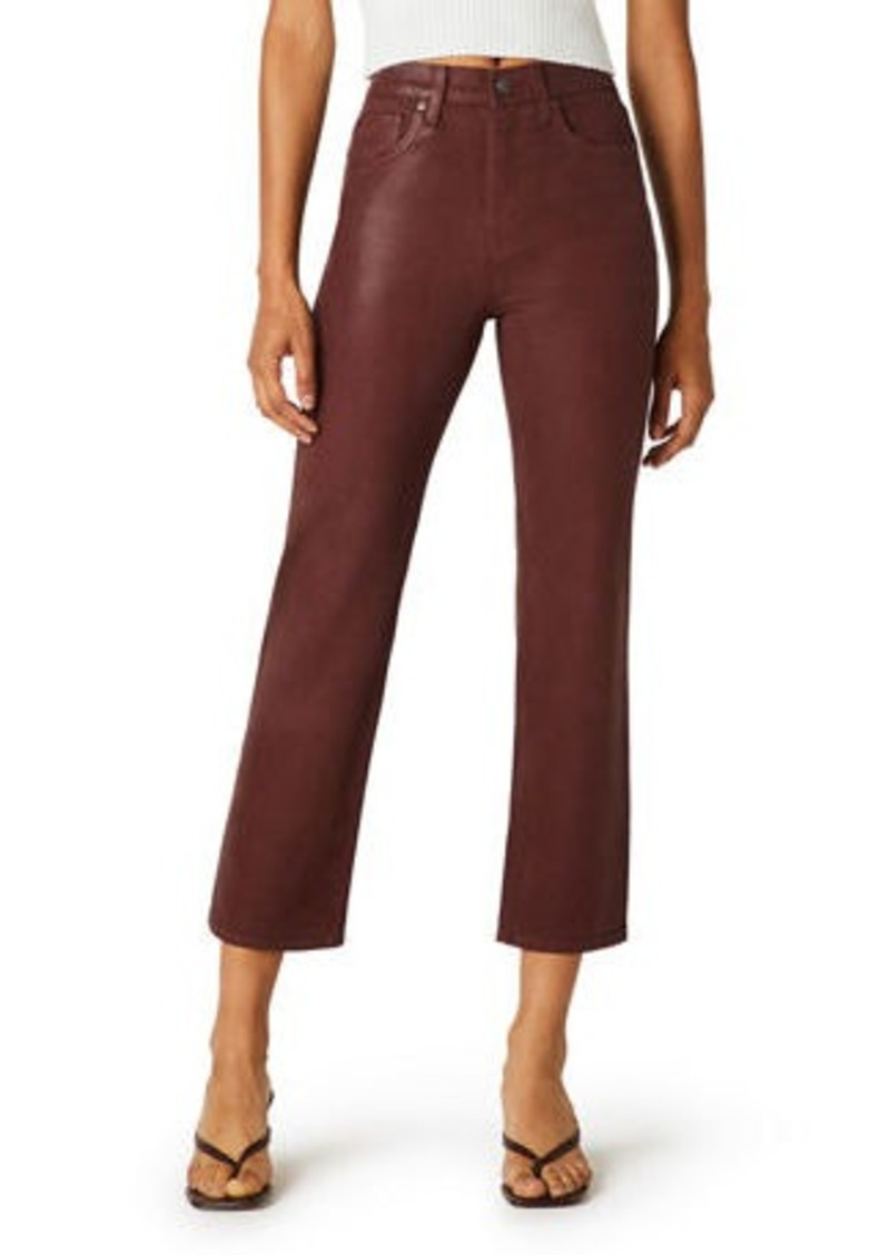 Hudson Jeans Remi High-Rise Straight Crop Coated Jeans