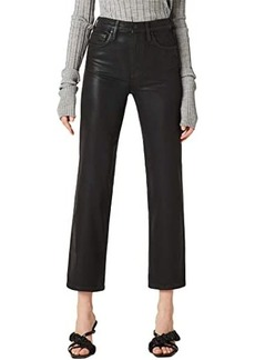 Hudson Jeans Remi High-Rise Straight Cropped in High Shine Black