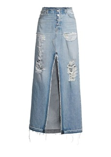 Hudson Jeans Sloane Long Distressed Denim Skirt