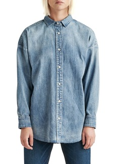 Hudson Jeans The Button Up Raw-Edge Chambray Shirt