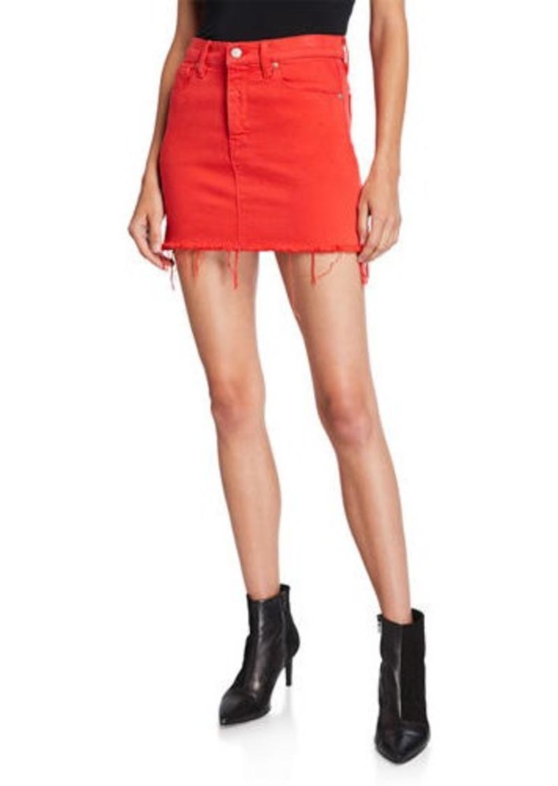 Hudson Jeans The Viper Camo Frayed Denim Mini Skirt