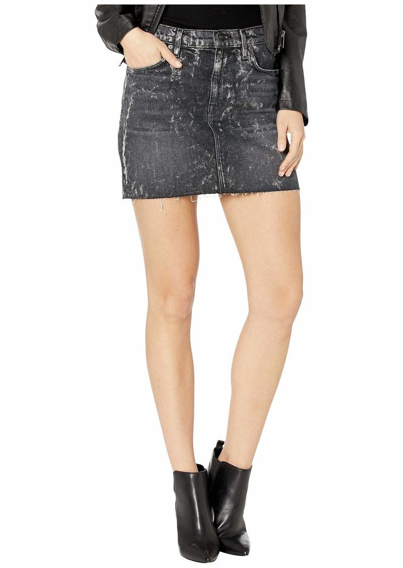 Hudson Jeans Viper Skirt in Blackened Metallic