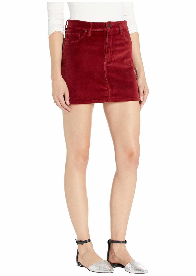 Hudson Jeans Viper Velvet Mini Skirt in Oxblood