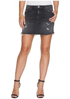 Hudson Jeans Vivid Denim Mini Skirt w/ Released Hem in Pretender