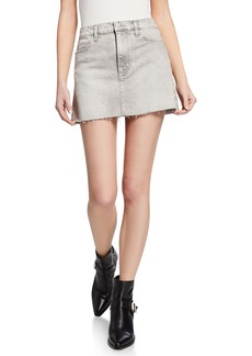 Hudson Jeans Vivid Denim Raw-Edge Mini Skirt