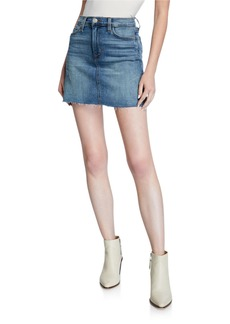 Hudson Jeans Vivid Denim Raw-Hem Mini Skirt