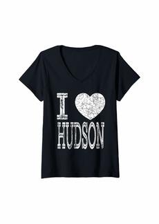 Hudson Jeans Womens I Love Hudson Valentine Boyfriend Son Boy Heart Husband Name V-Neck T-Shirt