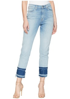 Hudson Jeans Zoeey High-Rise Straight Crop Double Step Hem Jeans in Stepped Azure
