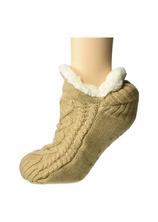 Hue Cable Knit Slipper Sock with Grippers