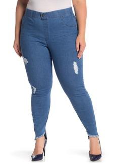 Hue Distressed Denim Skimmer Pants (Plus Size)
