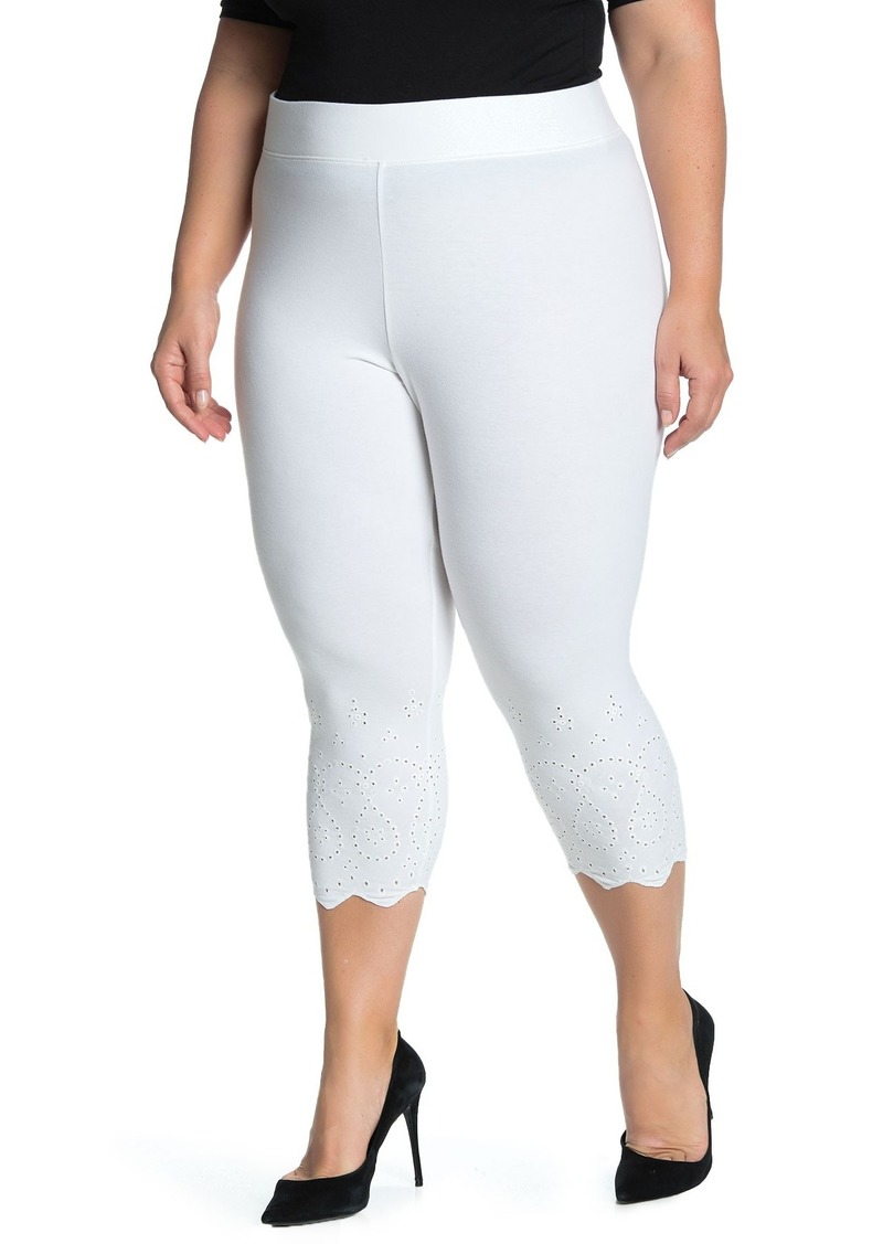 Hue Eyelet Trim Knit Capri Leggings (Plus Size)
