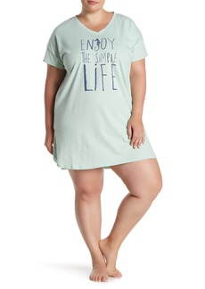 Hue Graphic Print V-Neck Sleep Shirt (Plus Size)