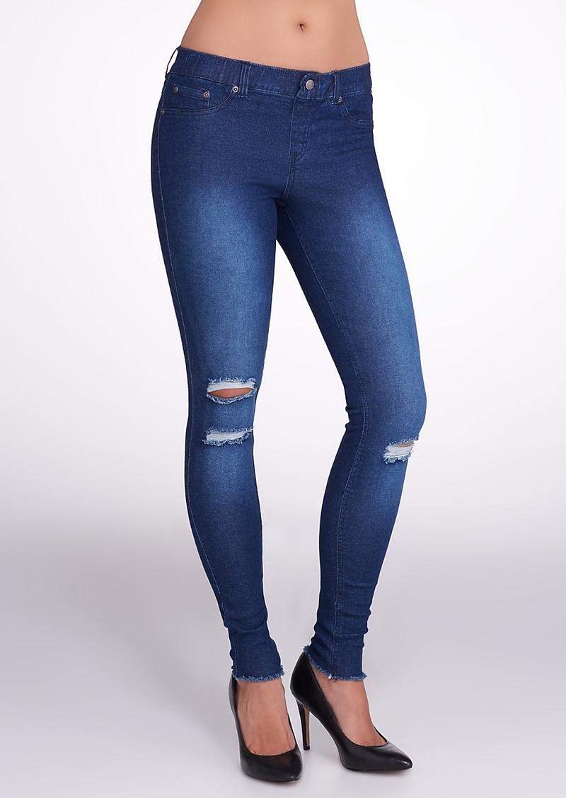 HUE + Ripped Knee Denim Leggings