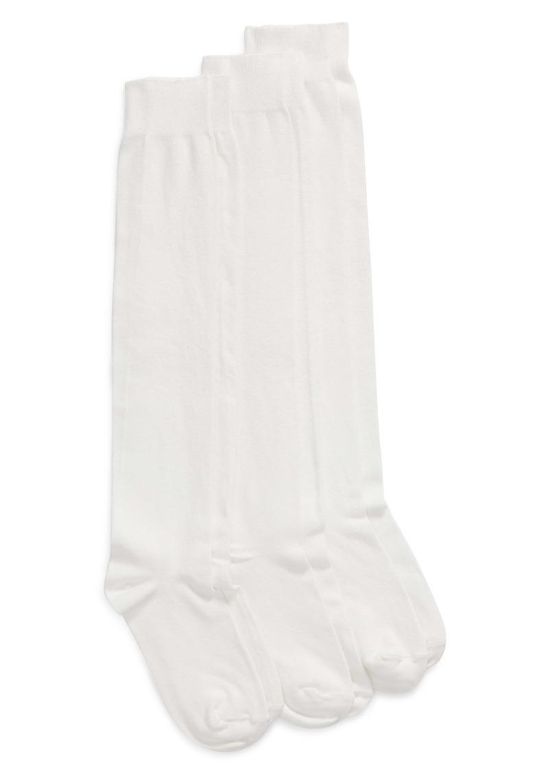 Hue 3-Pack Flat Knit Knee High Socks