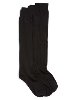 Hue 3-Pack Flat Knit Knee Socks