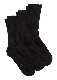 Hue 3-Pack Scalloped Rib Crew Socks