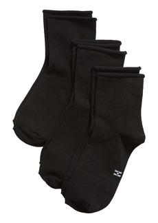 Hue 3-Pack Ultra Lite Roll Top Shortie Socks