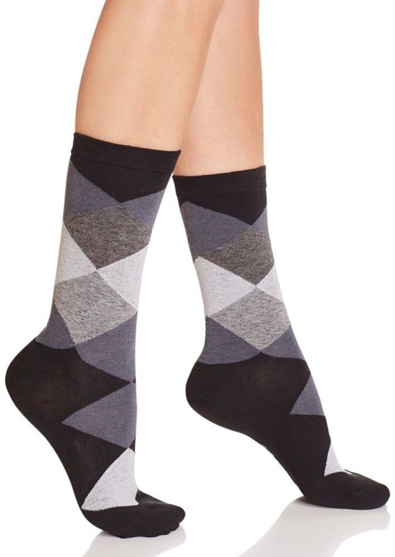 HUE Argyle Crew Socks