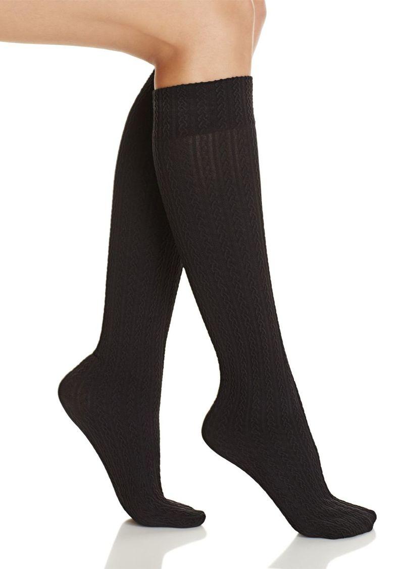 HUE Cable Texture Knee Socks