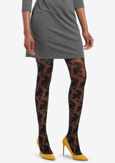 Hue Control-Top Floral Lace Sheer Tights
