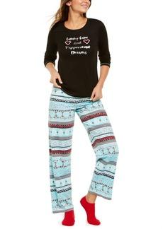 Hue Fair Isle Knit Top & Pants Pajamas Set
