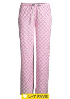 Hue Floral Geometric-Print Cotton Blend Pajama Pants