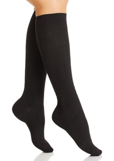 HUE Graduated Compression Cable Knee Socks