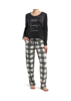 Hue Hit Snooze Embroidered Suede Pajama Set, Online Only