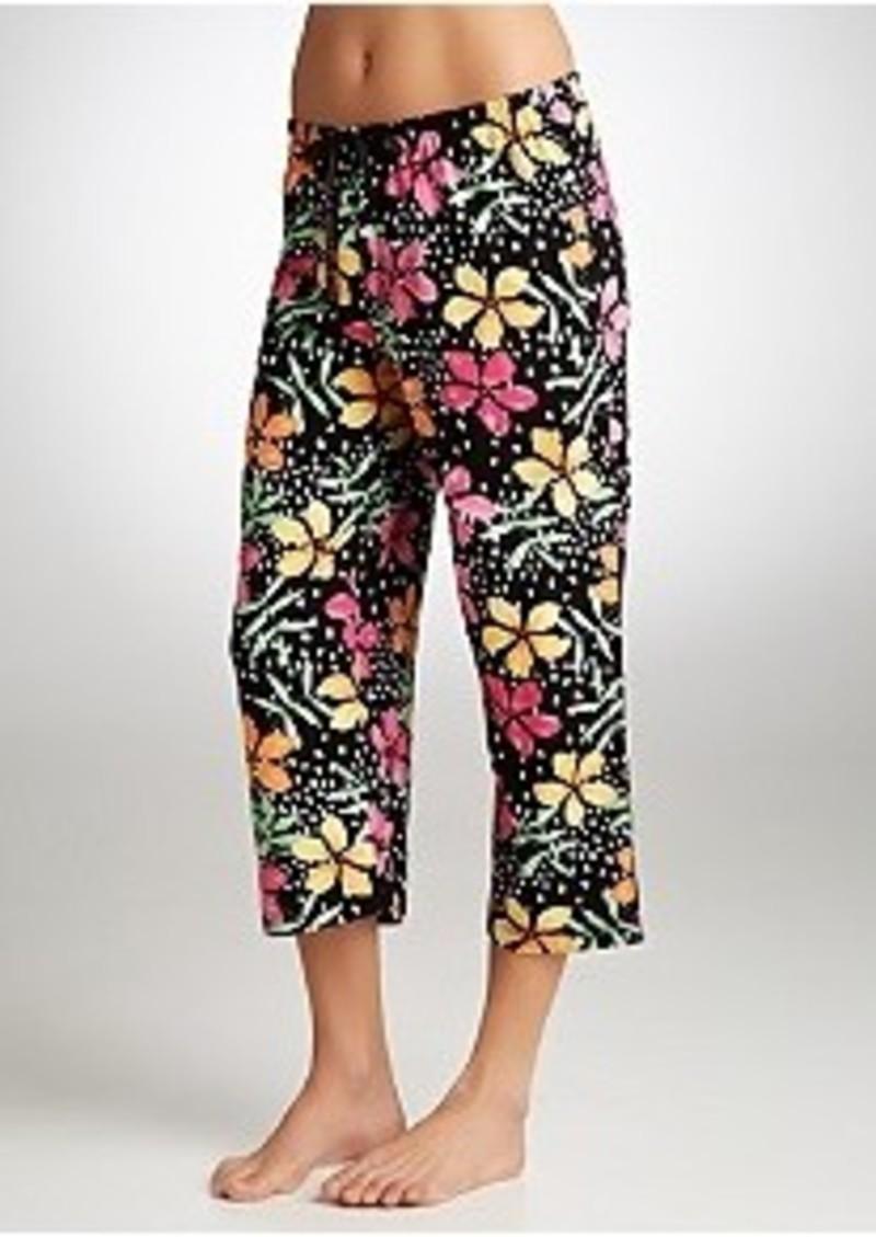 Hue Hue Island Flowers Knit Capri Pajama Pants Plus Size
