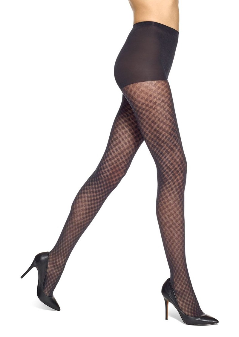 HUE Lattice Diamond Sheer Control Top Tights