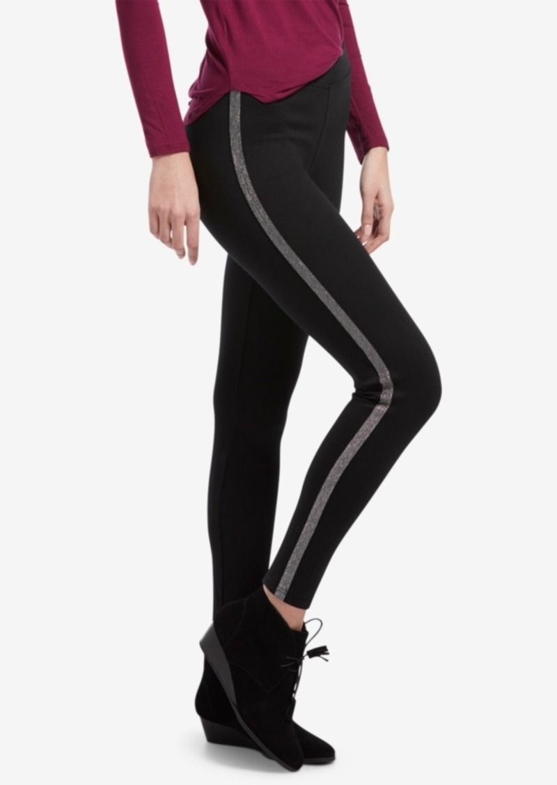 Hue Metallic Tuxedo Ponte-Knit Leggings