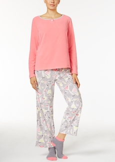Hue Microfleece Pajama Set with Socks
