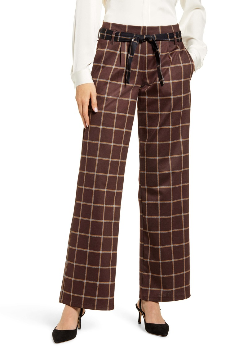 Hue Plaid Belted Wide Leg Pants