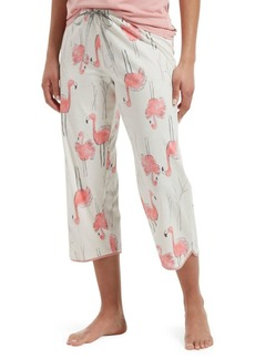 Hue Plus Flamingo Bush Cropped Cotton Blend Pajama Pants