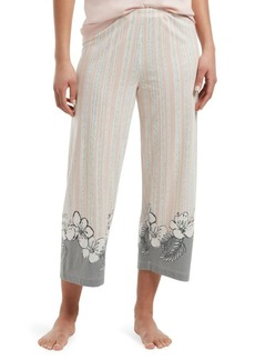 Hue Plus Floral Border Cropped Cotton Blend Pajama Pants