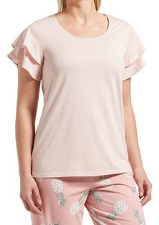 Hue Plus Flutter-Sleeve Cotton Blend Top