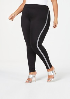 Hue Plus Metallic Tuxedo Ponte-Knit Leggings
