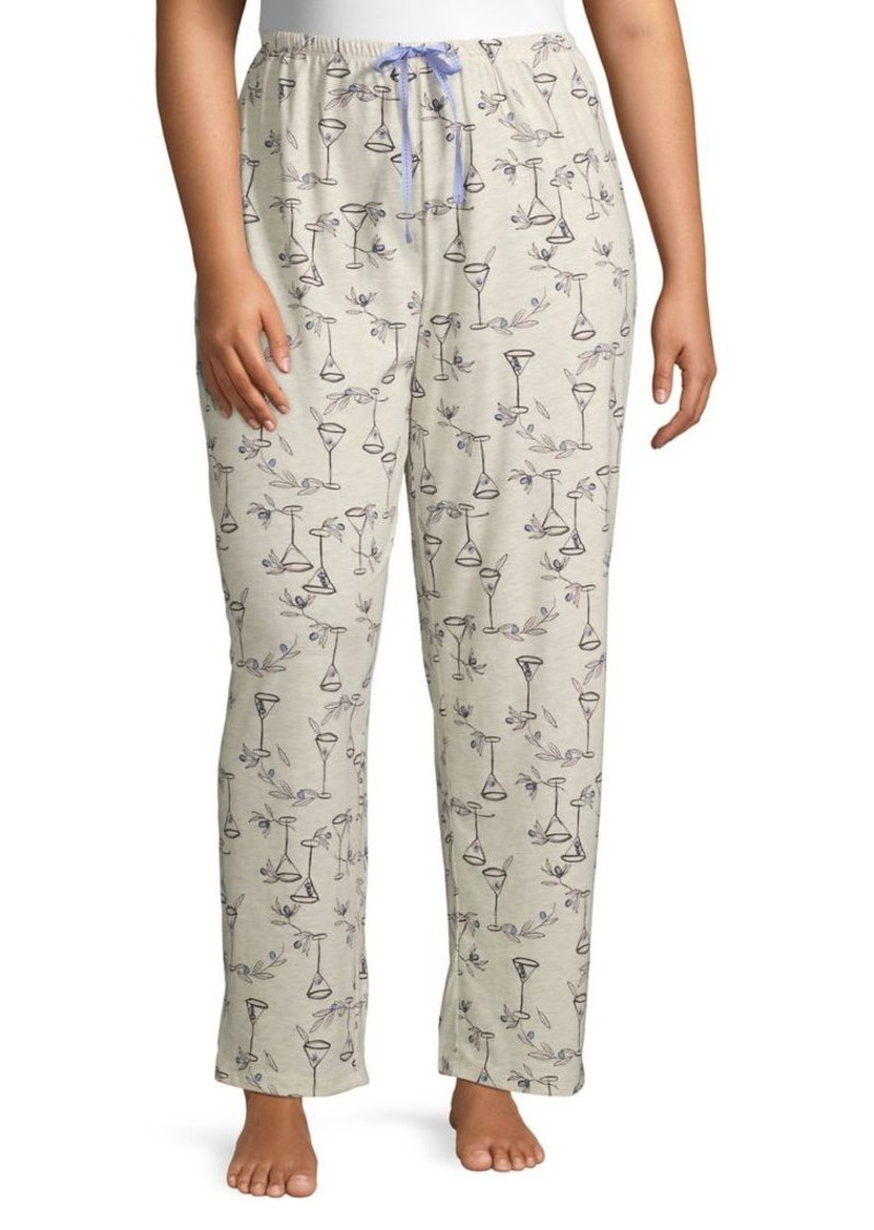 Hue Plus Romantic Cocktail Cotton-Blend Pajama Pants