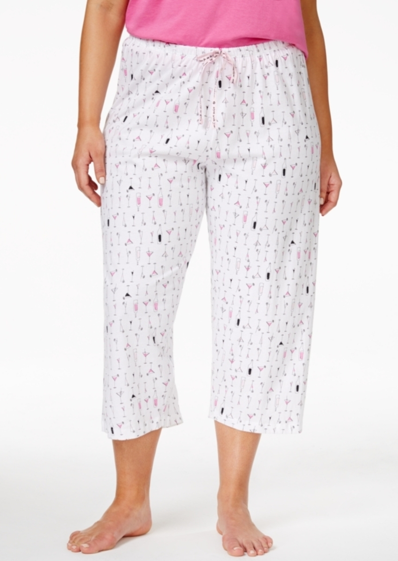 Hue Plus Size Cocktails Print Capri Pajama Pants