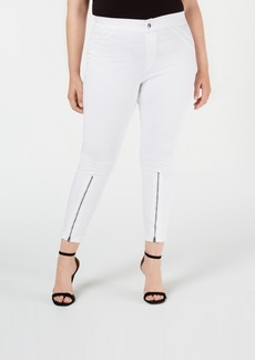 Hue Plus Size Extreme Zip Hem Denim Leggings, Created for Macy's