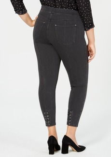 Hue Plus Size Lace-Up Microsuede Skimmer Leggings