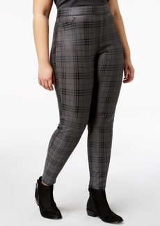 Hue Women's Plus Size Metallic Plaid Printed Leggings, Created for Macy's