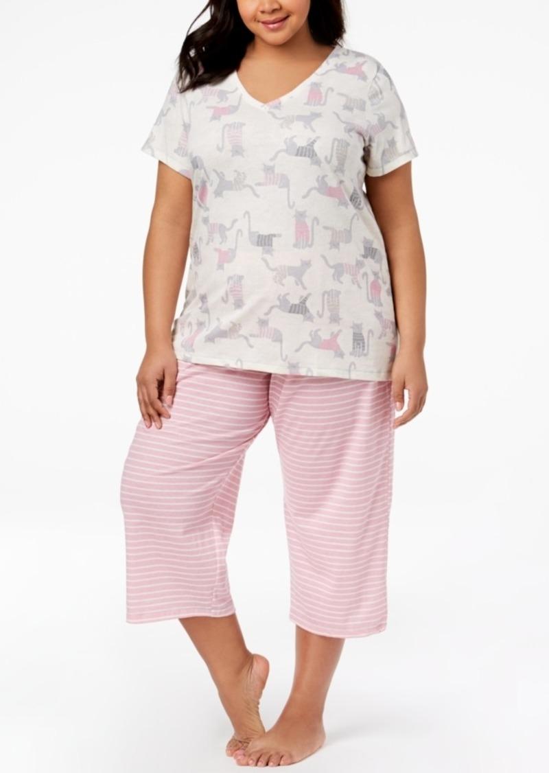 4ed7505863b Hue Hue Plus Size Printed Capri Pajama Set