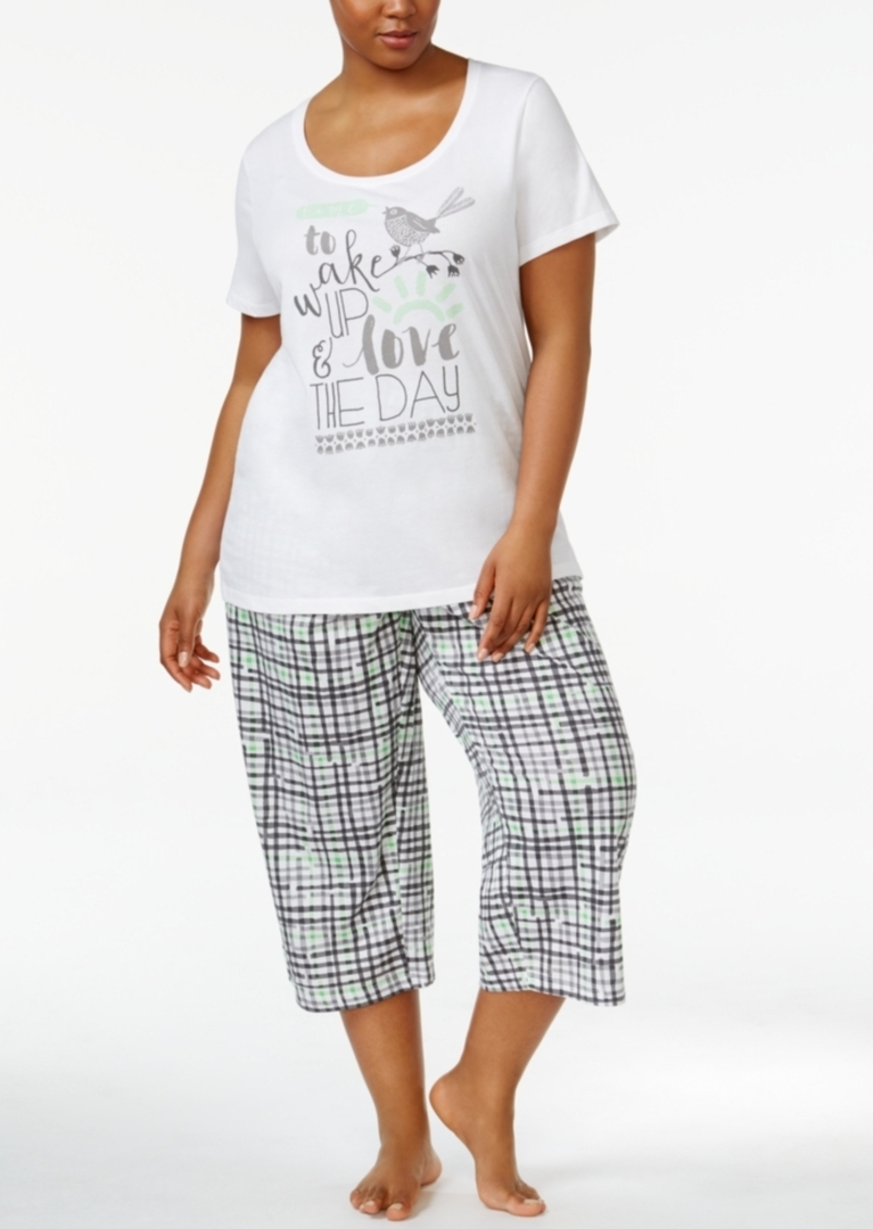 1b565a4217b Hue Hue Plus Size Printed Top and Capri Pants Knit Pajama Set ...
