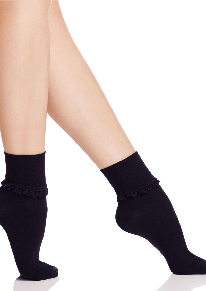 HUE Ruffle Lace Trim Socks